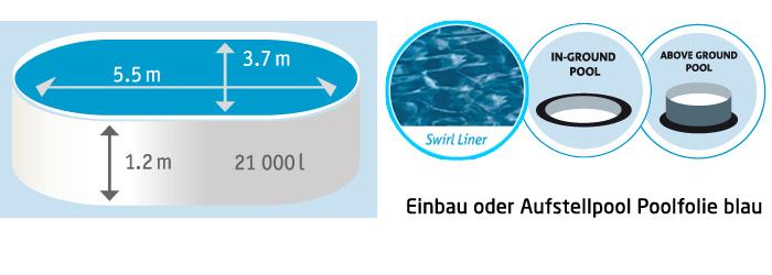 Ovalpool set 550x370x120cm als aufstellpool einbaupool for Stahlwandbecken holzoptik